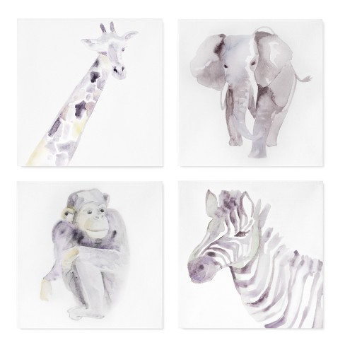 "Wall Canvas Animals 4pk (10""x10"") - Cloud Island™ - Neutral Gray - image 1 of 5"