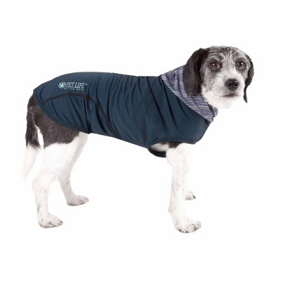 Pet Life Active Pull-Rover 4-Way Stretch Two-Toned Performance Sleeveless Hoodie Dog T-Shirt - Navy Blue - XL