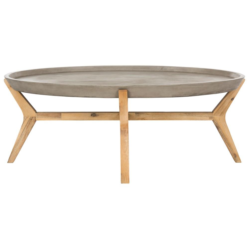 Hadwin Modern Concrete Oval Dia Coffee Table - Dark Grey - Safavieh