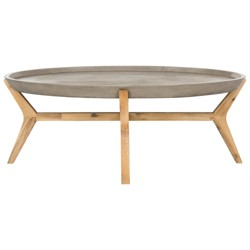 Hadwin Modern Concrete Oval Dia Coffee Table - Dark Grey - Safavieh