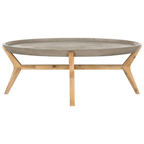 Hadwin Modern Concrete Oval Dia Coffee Table Dark Grey Safavieh Target