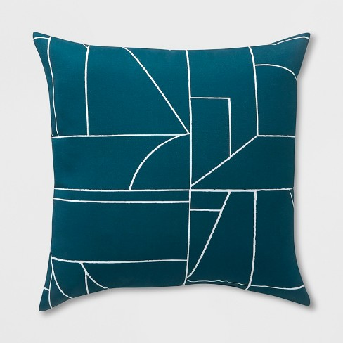 2pk Square Geo Block Outdoor Pillows Teal - Project 62™ - image 1 of 2