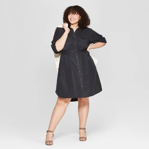 Women's Plus Size Long Sleeve Collared Shirtdress - Universal Thread™ - image 1 of 3