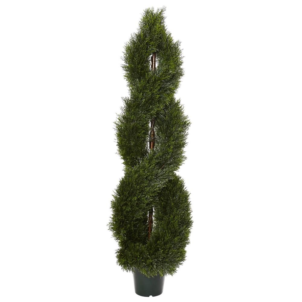5' Pond Cypress Spiral Topiary UV Resistant (Indoor/Outdoor), Green