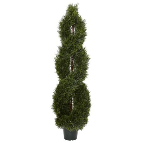 5' Pond Cypress Spiral Topiary UV Resistant (Indoor/Outdoor) - image 1 of 3