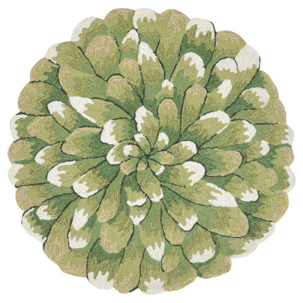 Green Floral Tufted Round Accent Rug 3' - Liora Manne