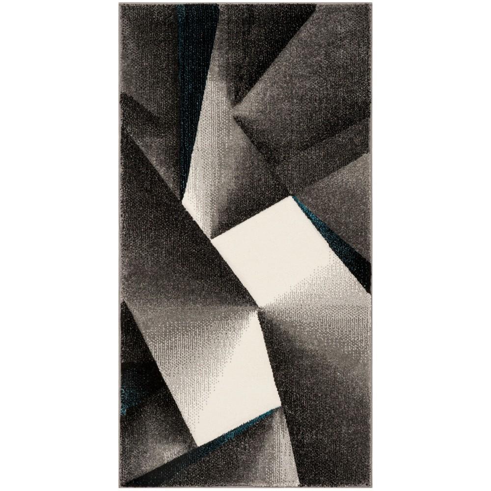 27X5 Geometric Loomed Accent Rug Gray/Teal - Safavieh Promos