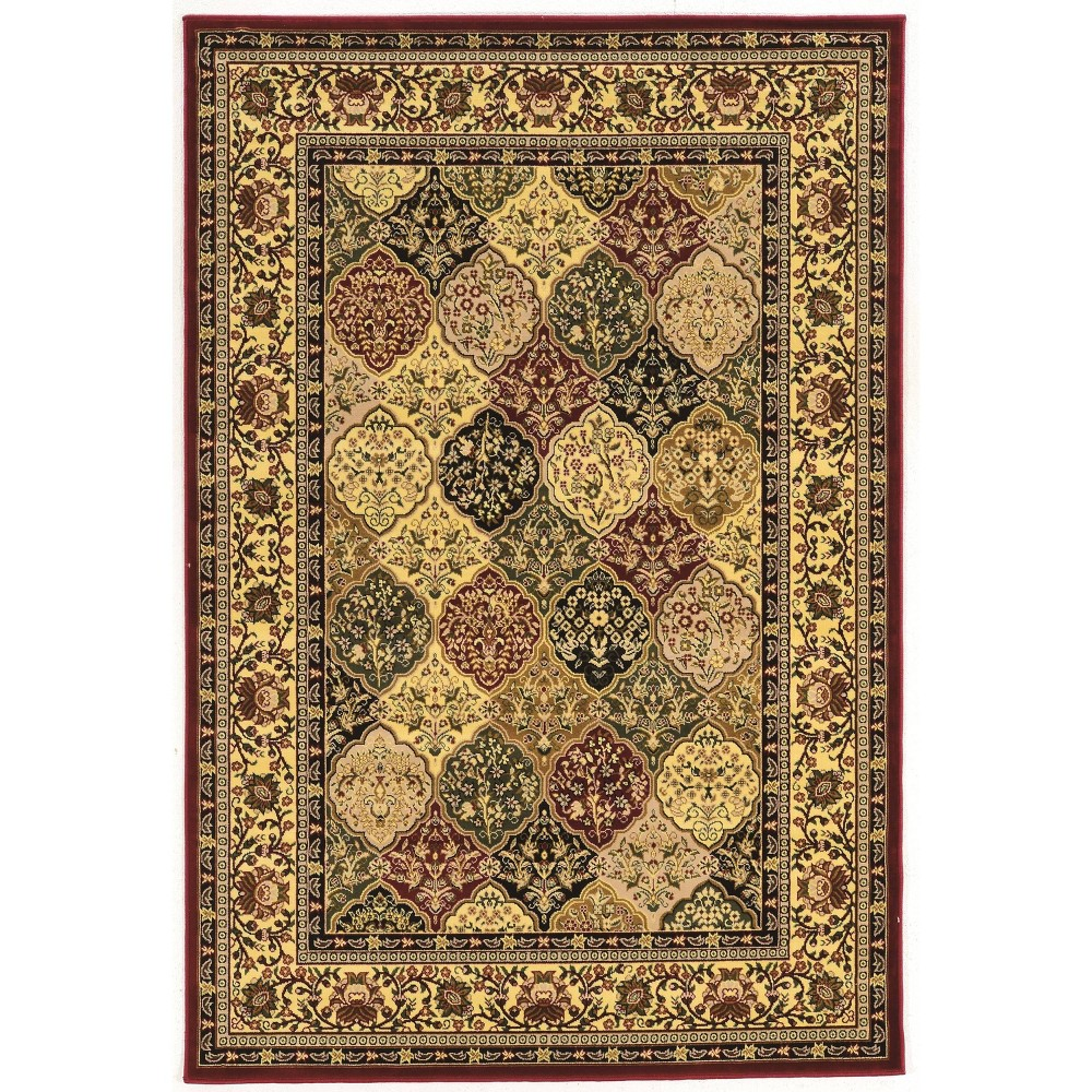 8 39 X8 39 Square Persian Treasures Kerman Rug Off White Red Linon