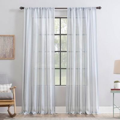 Vintage Striped Anti-Dust Sheer Curtain Panel - Clean Window