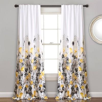 Set of 2 Zuri Flora Room Darkening Window Curtain Panels - Lush Décor
