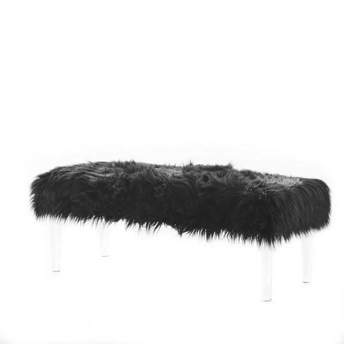 Awe Inspiring Karren Glam Faux Fur Ottoman Christopher Knight Home Inzonedesignstudio Interior Chair Design Inzonedesignstudiocom