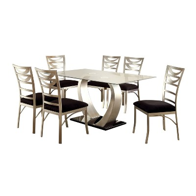 7pc LangtonDining Set w/Ladder Back Chairs Silver/Black - HOMES: Inside + Out