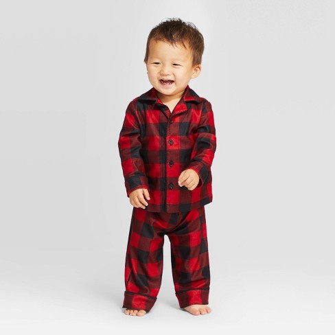 Toddler Holiday Buffalo Check Pajama Set - Wondershop™ Red - image 1 of 3