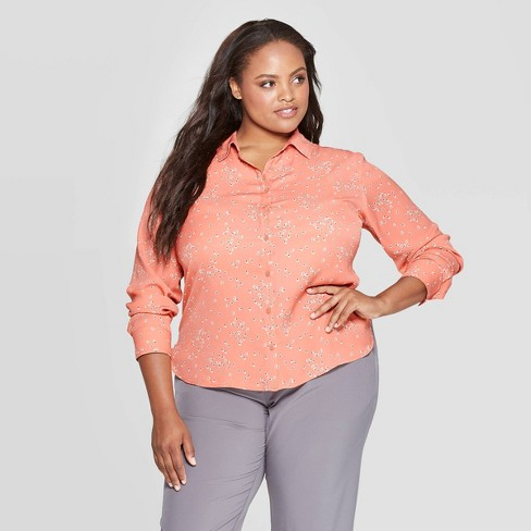 Women's Plus Size Floral Print Long Sleeve Collared Button-Up Blouse - Ava & Viv™ Blush - image 1 of 2