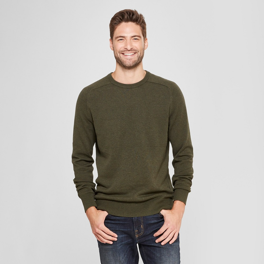 Men's Standard Fit Crew Neck Sweater - Goodfellow & Co Olive Heather L, Green
