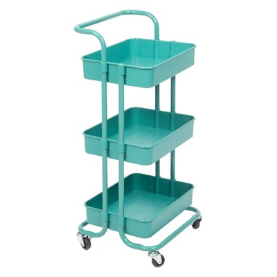 Pemberly Row 3 Tier Mobile Storage Caddy in Teal