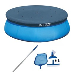 Intex Swimming Pool Maintenance Kit w Vacuum & Pole & 15 Ft Easy Set Pool Cover