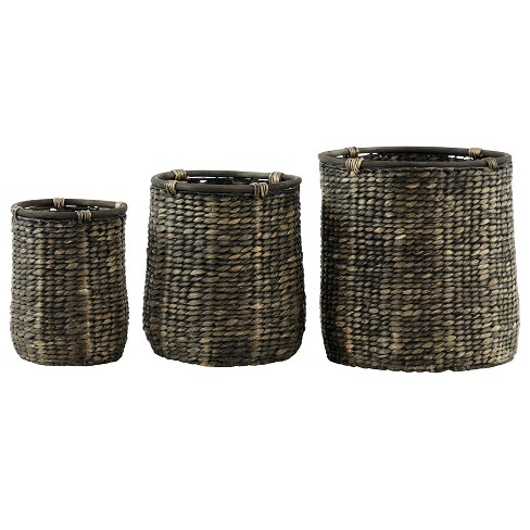 Set of 3 Woven Seagrass Basket Planters Black - Olivia & May - image 1 of 4