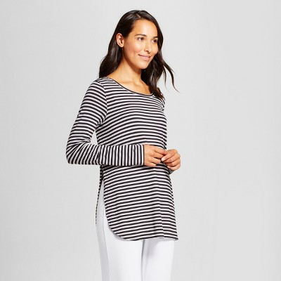 Maternity Nursing Striped Sleep T-Shirt - Gilligan & O'Malley™ Dark Heather Gray M