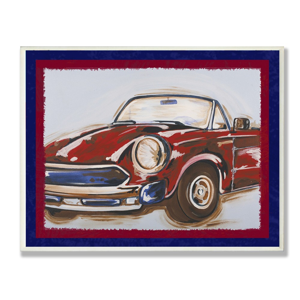 Blue And Red Vintage Car Wall Plaque Art (12.5x18.5