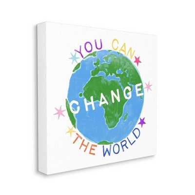 Stupell Industries Inspirational Change the World Quote Earth Kids Words