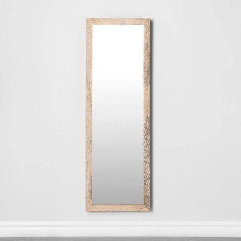 Carved Dot Natural Wood Floor Mirror - Opalhouse™ - image 1 of 4