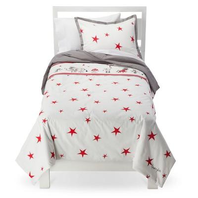 Rachel Kate Boys Punk Animal Star Comforter Set -White/Red/Gray Twin