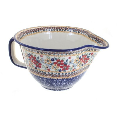 Blue Rose Polish Pottery Red Daisy Batter Bowl