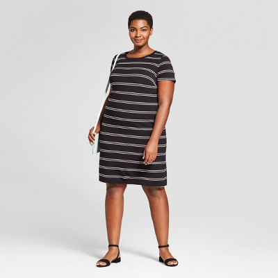 f12f00a16620e Womens Plus Size Striped T-Shirt Dress – Ava & Viv™ Black 3X ...