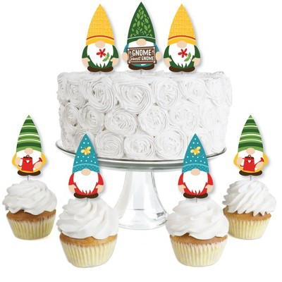 Big Dot of Happiness Garden Gnomes - Dessert Cupcake Toppers - Forest Gnome Party Clear Treat Picks - Set of 24