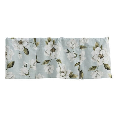 Split P Magnolia Floral Lined Pleat Valance - Blue