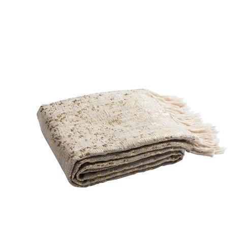 Peppin Metallic Throw Blanket Natural/Gold - Safavieh - image 1 of 3
