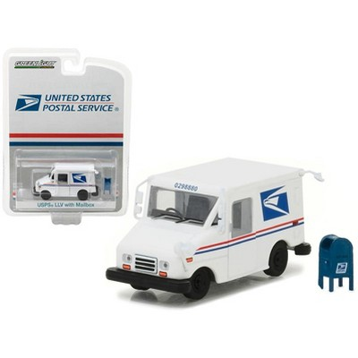 """""""United States Postal Service"""" (USPS) Long Life Postal Mail Delivery (LLV) & Mailbox Accessory 1/64 Diecast Model Greenlight"""