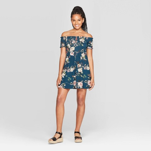 Women's Floral Print Short Sleeve Off The Shoulder Button-Down Knit Mini Dress - Xhilaration™ Deep Teal - image 1 of 2