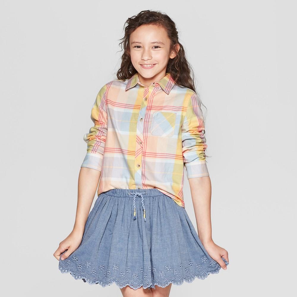 Plus Size Girls' Woven Long Sleeve Button-Down Shirt - Cat & Jack Orange L Plus