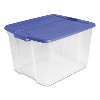 66qt Latch Box Clear with Blue Lid and Latches - Room Essentials™