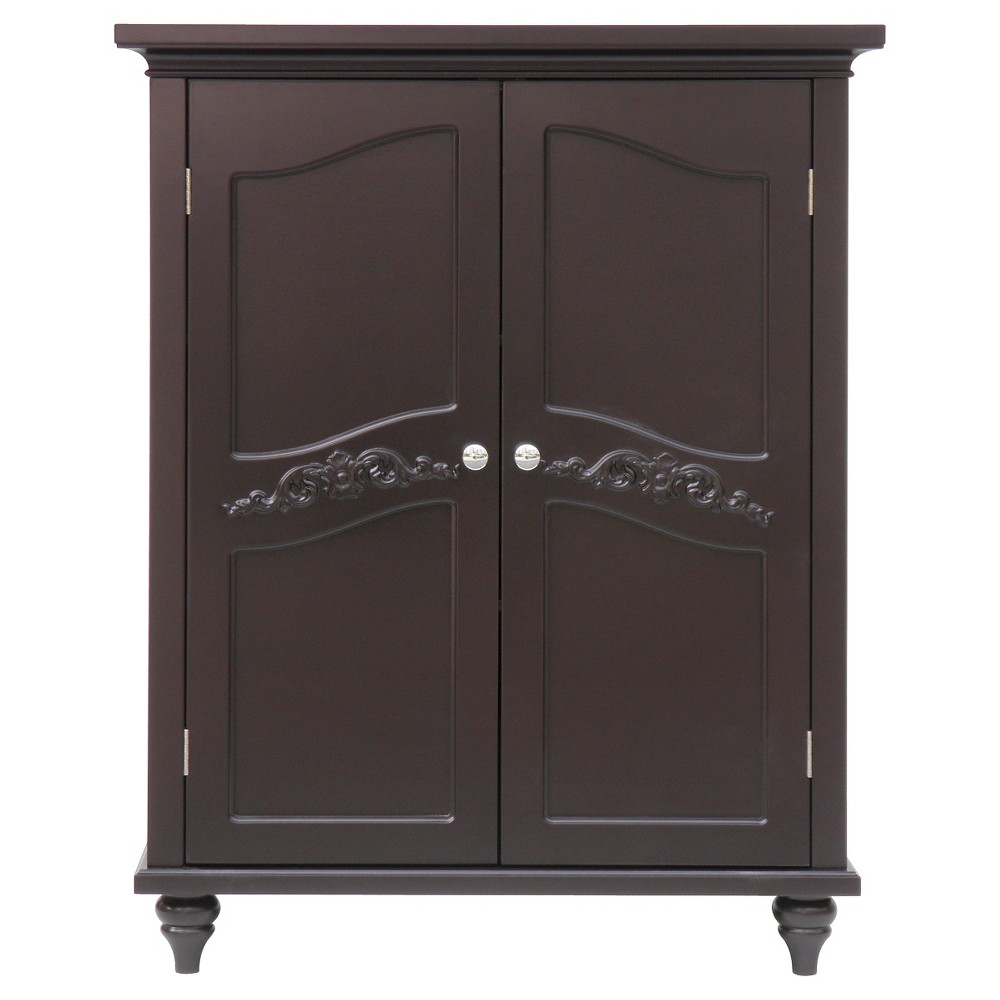 Elegant Home Fashions Versailles Floor Cabinet with 2 Doors - Dark Espresso