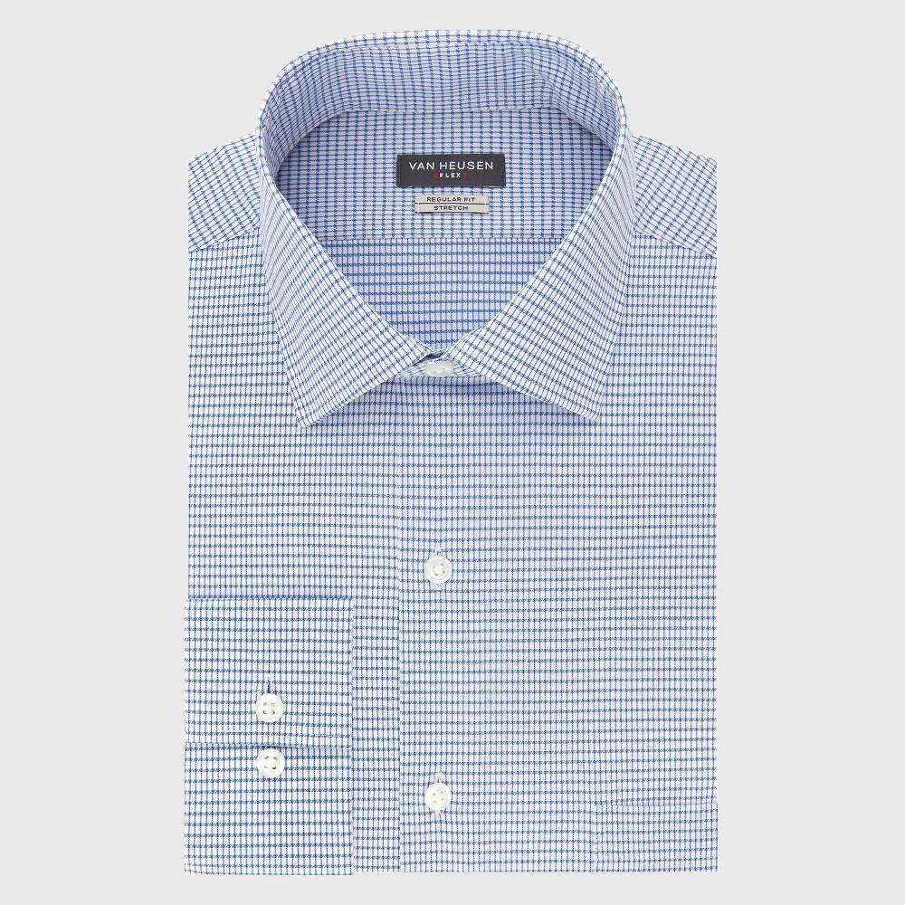 Men 39 S Regular Fit Long Sleeve Flex Button Down Shirt Van Heusen Blueberry Basket Weave 17 5 32 33