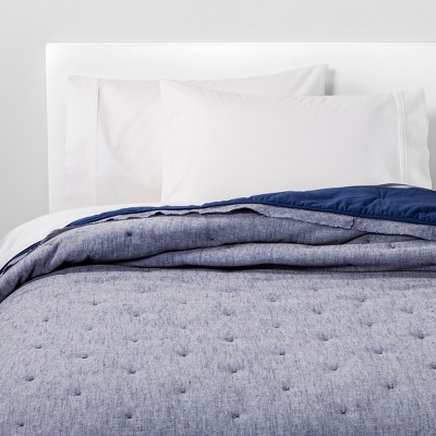King Linen Blend Tufted Quilt Blue River Fog - Threshold™
