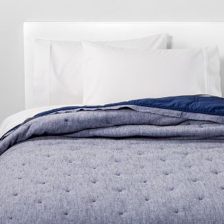 5391196153912595Full/Queen Linen Blend Tufted Quilt Blue River Fog - Threshold™