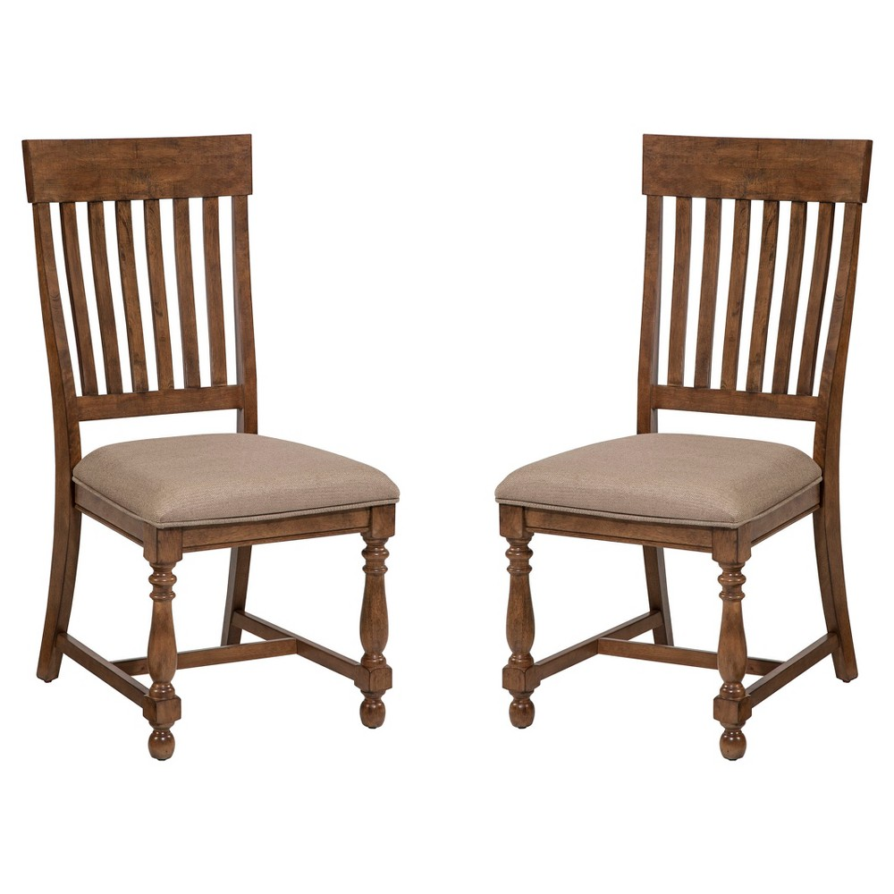 Rhone Slat Back Side Chair with Cushion Seat Brushed Almond Finish (Set of 2) - Intercon