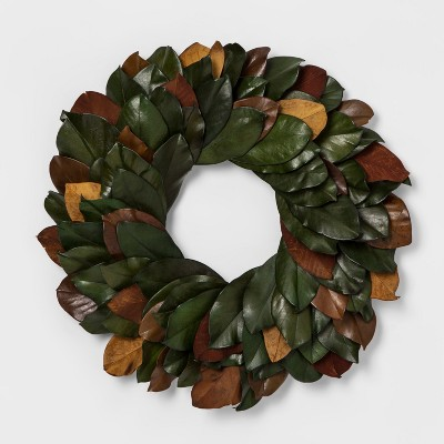 21.2  Dried Magnolia Leaves Wreath Green/Brown - Smith & Hawken™
