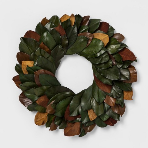 """21.2"""" Dried Magnolia Leaves Wreath Green/Brown - Smith & Hawken™ - image 1 of 1"""