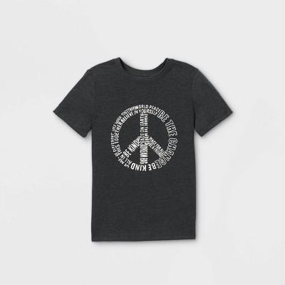 Boys' Short Sleeve Peace Sign Graphic T-Shirt - Cat & Jack™ Black