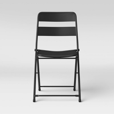 Metal Slat Patio Folding Chair Black - Room Essentials™
