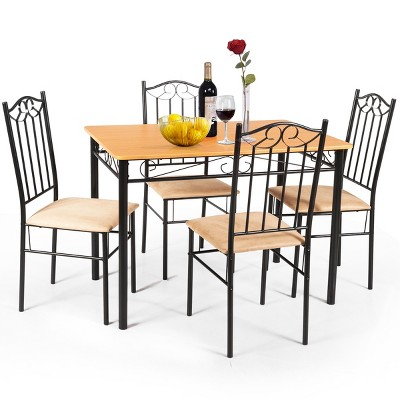 """Costway 5 PC Dining Set Wood Metal 30"""" Table and 4 Chairs Black Kitchen Breakfast Furniture"""