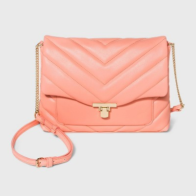 Turn Key Metal Clasp Closure Crossbody Bag - A New Day™ Coral