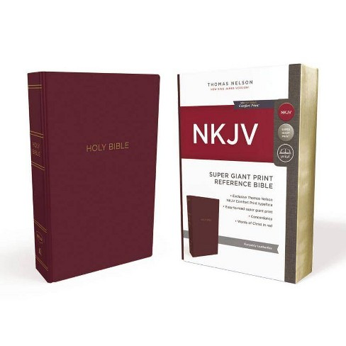 NKJV, Reference Bible, Super Giant Print, Leather-Look, Burgundy, Red Letter Edition, Comfort Print - image 1 of 1