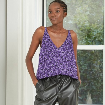 Women's V-Neck Essential Tank Top - A New Day™ Violet Floral