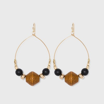Gold with Wood and Brass Beads Drop Hoop Earrings - A New Day™ Gold